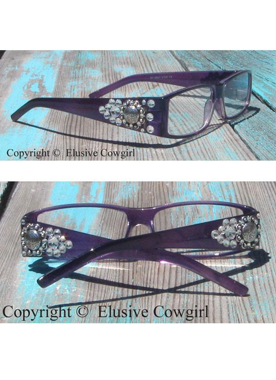 cowgirl eye glasses with rhinestones and conchos