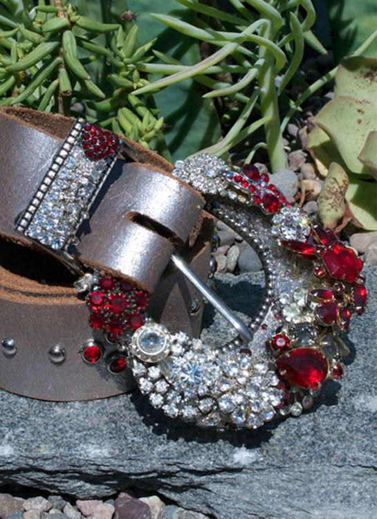 Vintage Ruby Red Buckle & Belt - Small