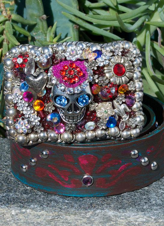 Gypsy Sugar Skull Buckle & Belt - Large - Elusive Cowgirl Boutique