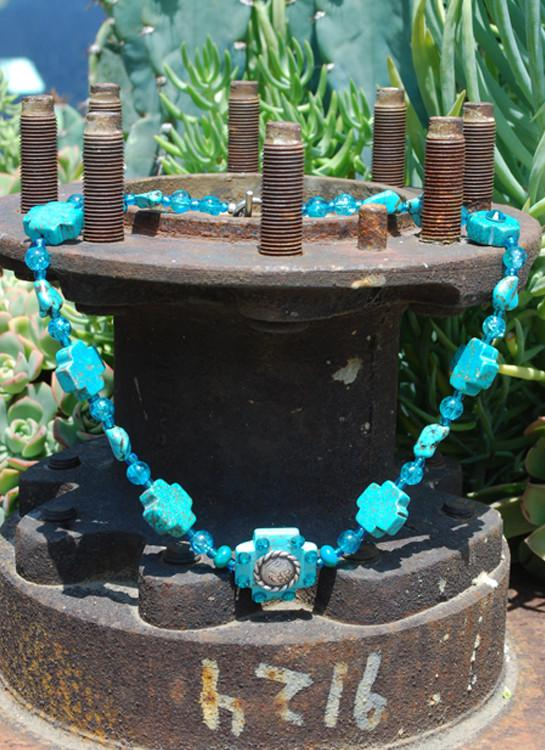 Necklace - Cross Turquoise - Elusive Cowgirl Boutique