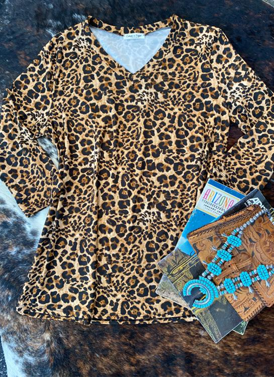 Plus Leopard V Neck Top - Elusive Cowgirl Boutique