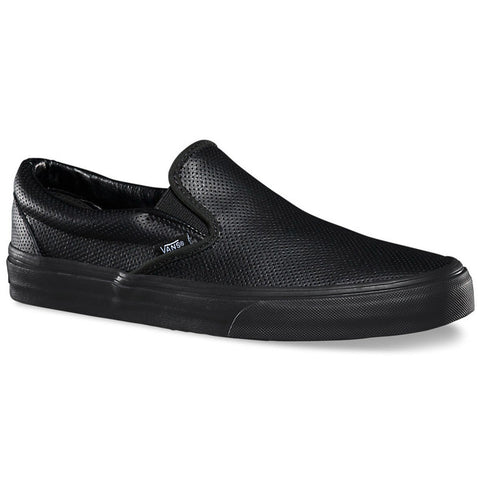 vans perf black shoes slip ons