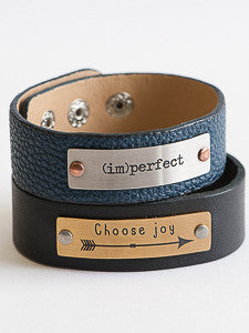 Personalized Thin Leather Cuff Bracelet