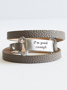 Personalized Leather Wrap Bracelet (Symbols & Text)