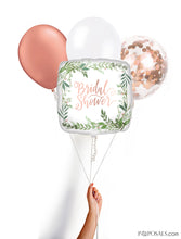 Square Rose Gold Confetti and Ivy Bridal Shower Mylar Balloon Multipack