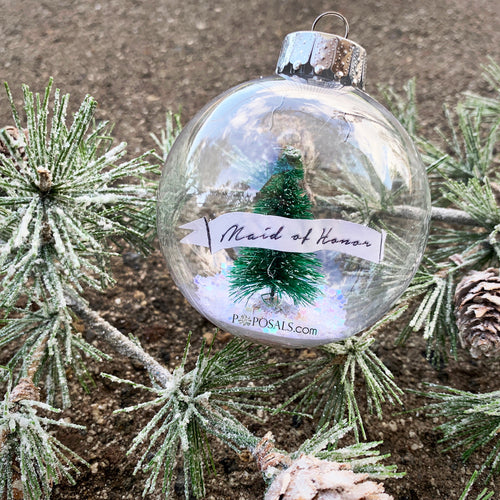 Winter Wonderland Snow Globe Bridesmaid / Maid of Honor Keepsake Christmas Ornament