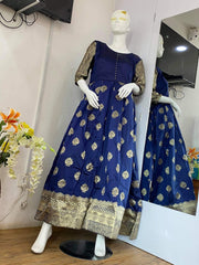 Navy Blue Banarasi Silk Gown
