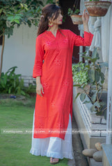 Red Kurtha With White Garara Set