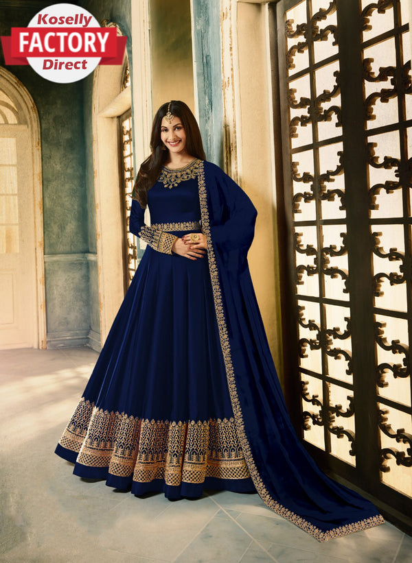 Semi-stitched Georgette Embroidered Gown