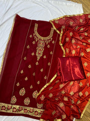 Red Embroidered Kurtha Suruwal Piece