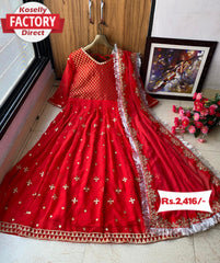 Red Embroidered Anarkali Gown with Dupatta