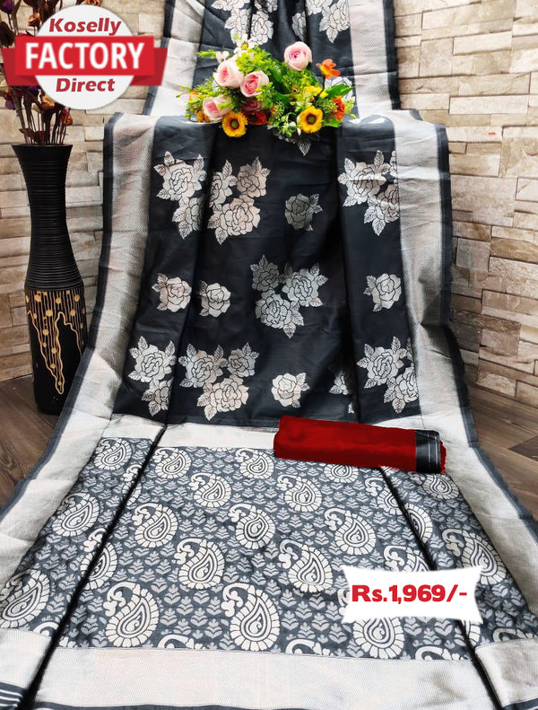Rose Floral Black Saree with Silver Zari Jacquard Work