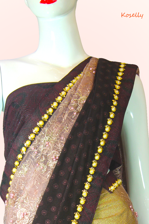 Pink and maroon Fancy 3D net saree