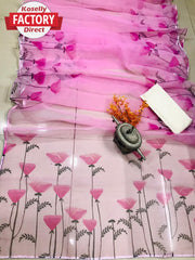 Pink Organza Silk Digital Printed Saree