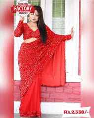 Red Georgette Sequence Saree with Sequence Blouse