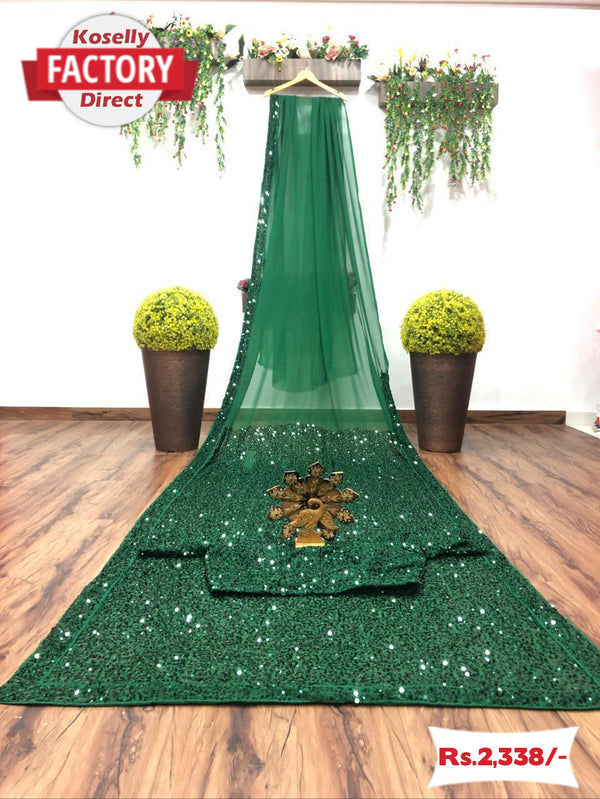Green Georgette Sequence Saree with Sequence Blouse