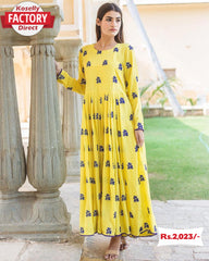 Yellow Thread Embroidered Gown