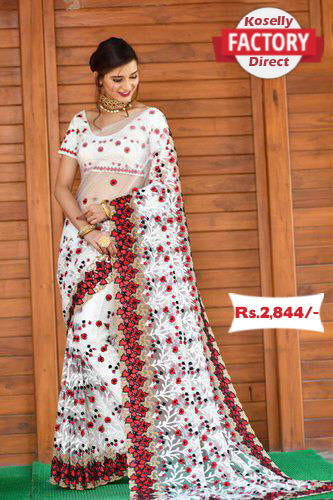 Heavy Embroidered White and Red Saree with Embroidered Blouse