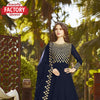 Navy Blue Semi-stitched Georgette Embroidered Gown