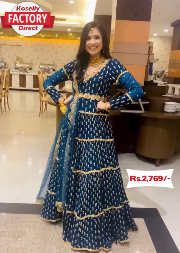 Turquoise Embroidered Anarkali Gown with Embroidered Dupatta