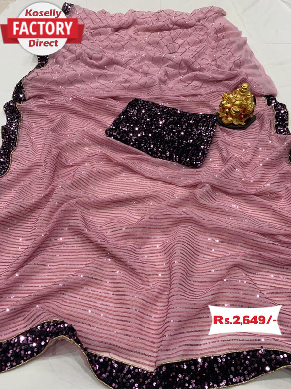 Pink Sequins Saree with Sequence Blouse