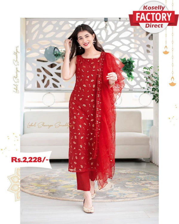 Red Embroidered Kurtha Pant with Designer Ruffle Dupatta
