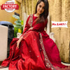 Red Embroidered Partywear Gown Dupatta Set