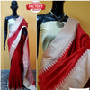 Raw Silk Saree with Khadi Temple Weaving Border