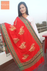 Red Pashmina Shawl with golden patterns