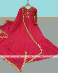 Pink Georgette Embroidered Gown with Dupatta