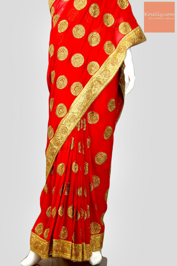 Bridal Red Georgette Saree