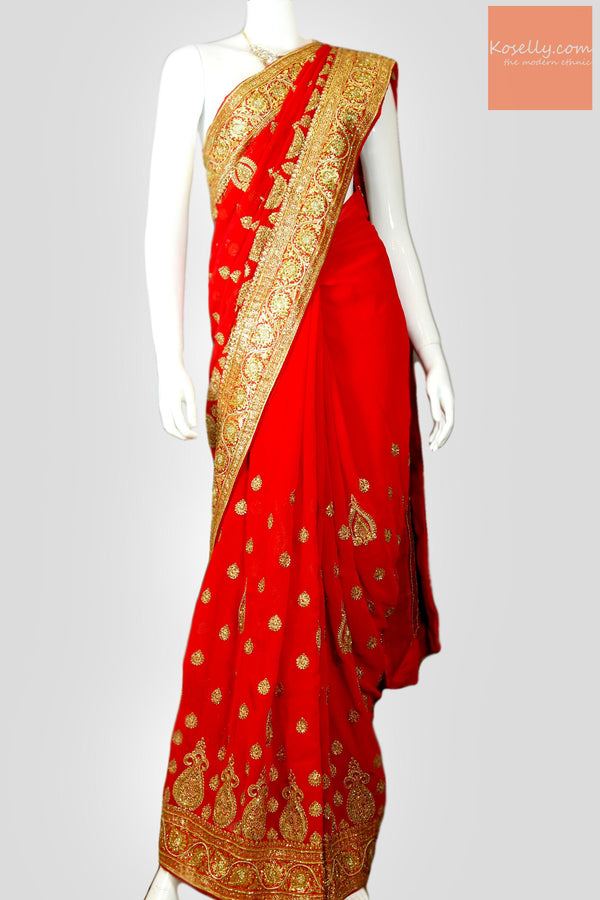 Bridal Red Georgette Embroidered Saree