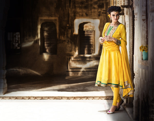 Rangriti Yellow Short Anarkali