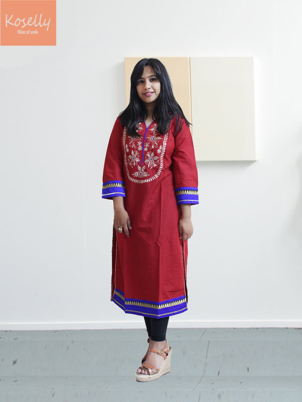 Red Kurthi Top with coding work