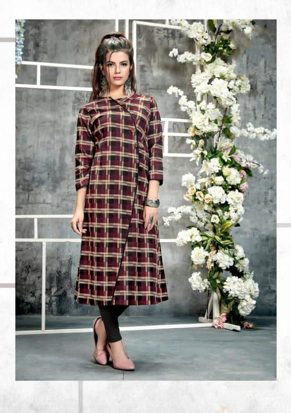 Purple chequered winter kurthi
