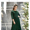 Green Chequered Winter Kurthi