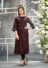 Maroon chequered winter kurthi