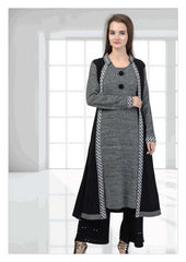 Multilayered Grey and Black woollen kurti