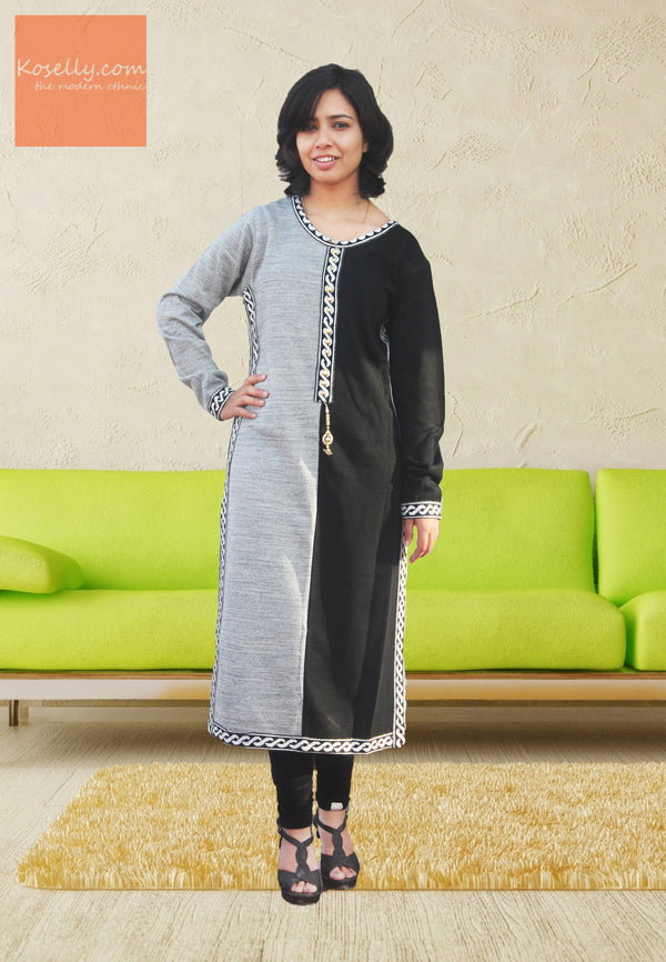 Black and Grey Woollen Kurthi