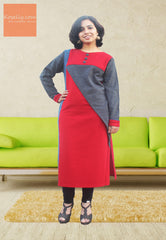 Red and  grey woollen kurthi