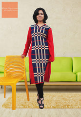 Red and Blue Woollen Kurthi
