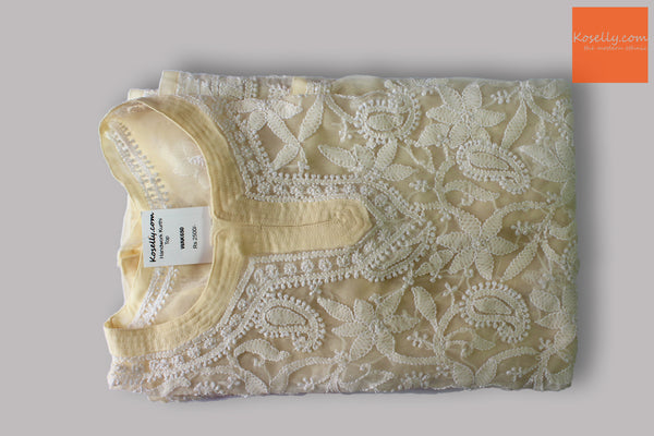 Cream lucknowi chikankari top