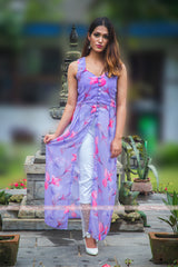 Lavender Floral Printed Slit Dress
