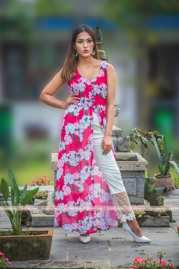 Pink Floral Printed Slit Dress