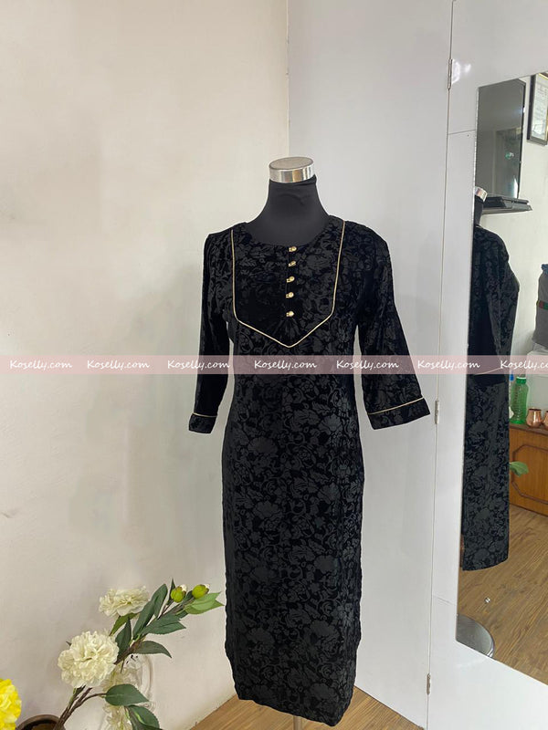 Black Velvet Kurthi for winter