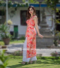 Rose And Peach Indo-Western Kurtha Palazzo Set