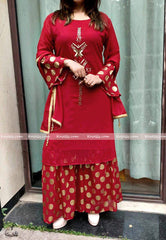 Red Embroidered Kurtha Palazzo Set with Shawl