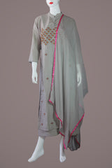 Ash Kurtha with inner gown