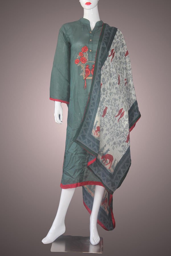 Pakistani green semi stitched kurtha piece