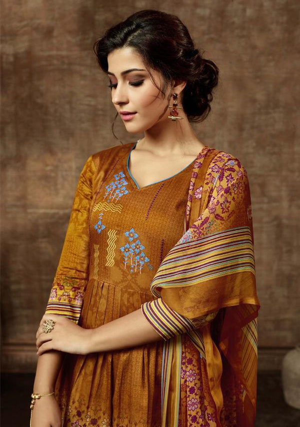 Dark  Golden Pashmina Kurtha Piece